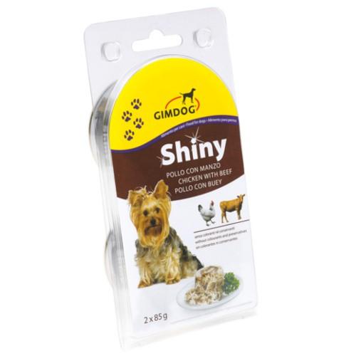 GimDog Shiny Dog comida húmeda para perros de pollo con buey