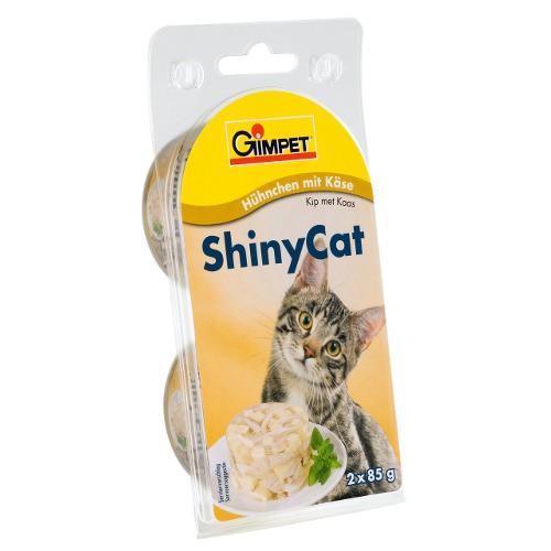 GimPet Shiny Cat comida húmeda para gatos con pollo gambas y malta