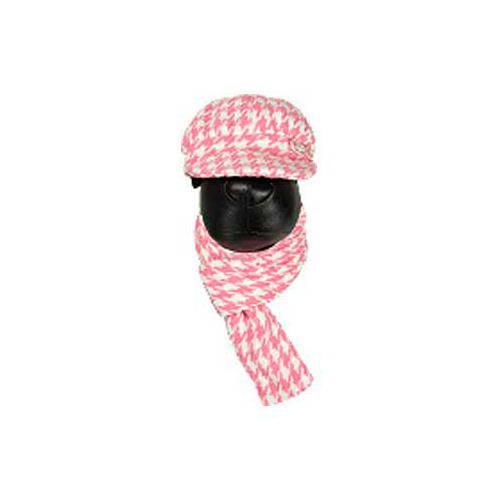 Conjunto de gorra y bufanda rosa para perros