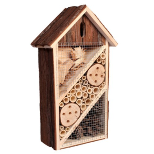 Wooden hotel attracts live insects for birds