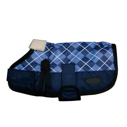 Capa impermeable y abrigada azul con cuadros para perros