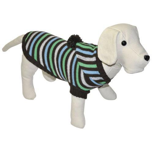 Jersey de punto a rayas chocolate con capucha para perros