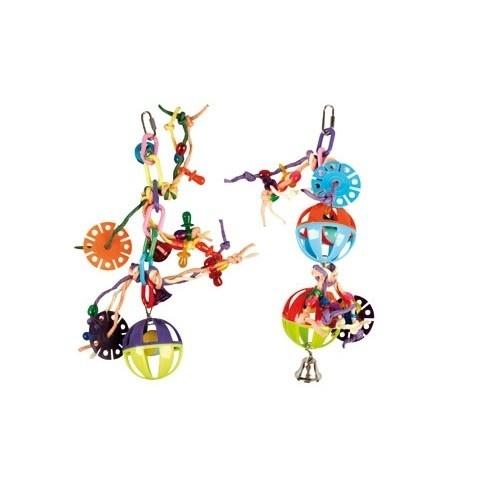 Juguete cadena con pelota y cuerda para pájaros