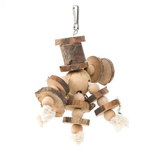 Juguete de madera y cuerda con cascabel grande para loros