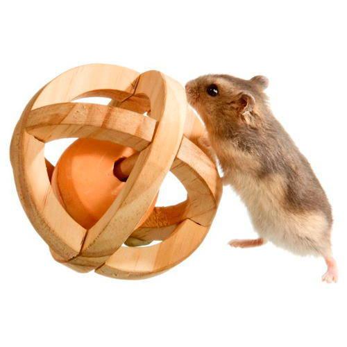 Juguete para hámster Pelota de madera con piedra de lamer