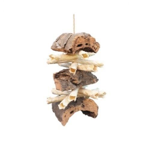 Juguete natural Shredding Corky Sticks para loros color Madera