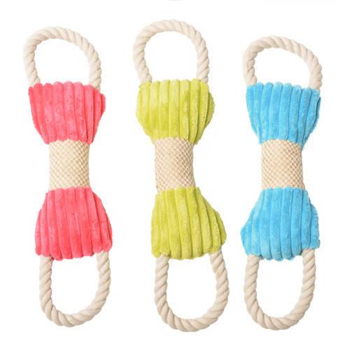 Juguete para perros Plush señuelo de doble anillo con cuerda