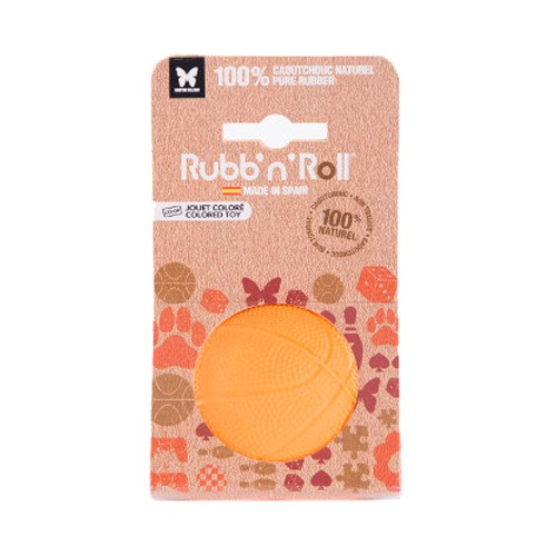 RubbnRoll toy for dogs orange ball of natural rubber