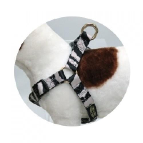 Arnés Love Zebra para perros color Blanco y negro