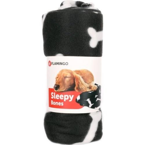 Manta para mascotas con huesos negra