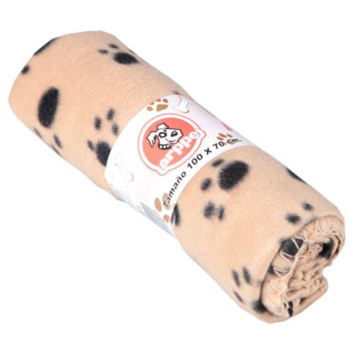 Manta para perros y gatos Arppe beige con huellas