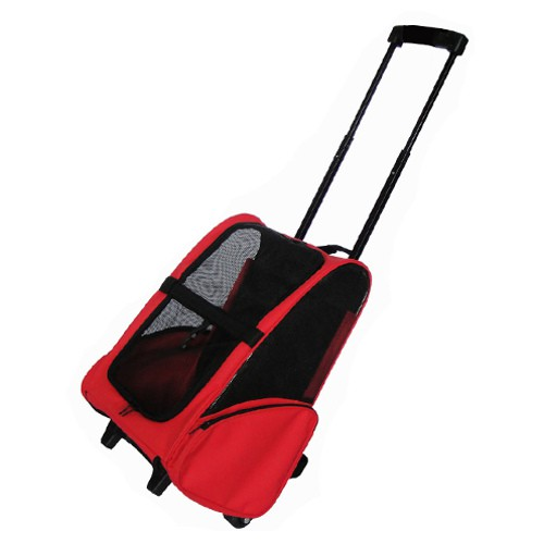 Mochila para perros y gatos con ruedas Trolley Rodder roja