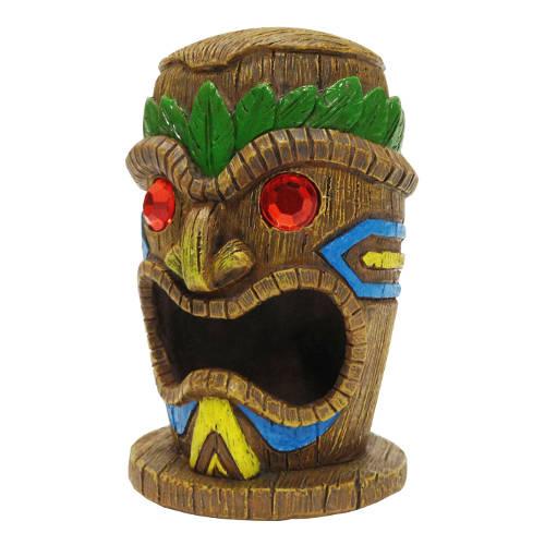 Estatua hawaiana Tiki ojos de rubí
