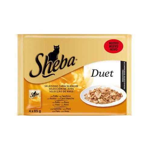 Alimento húmedo para gatos Sheba Duet mousse selección de aves