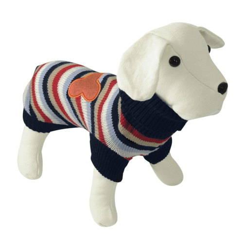 Jersey de punto para perros de rayas con hueso