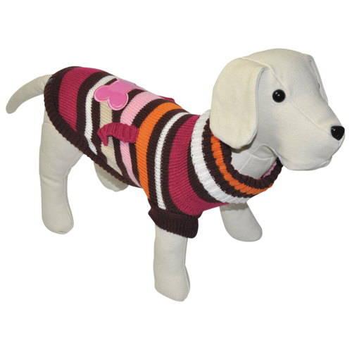 Jersey de punto para perros con hueso fucsia con bolsillo