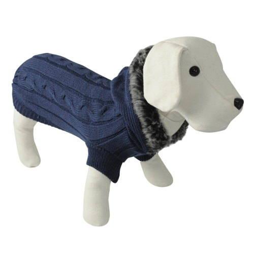 Jersey de punto para perros  azul con capucha