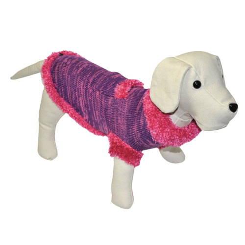 Jersey de punto para perros con bolsillo color fucsia-lila