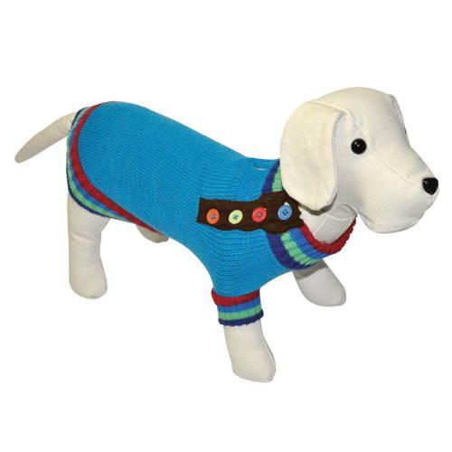 Jersey de punto para perros  con botones color azulón
