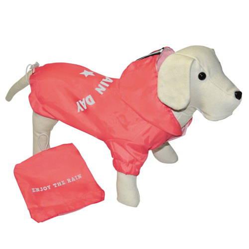 Chubasquero para perros con bolsa color coral