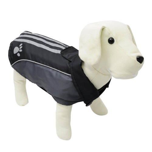 Abrigo impermeable reflectante para perros con huella color negro