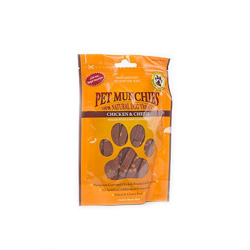 Snacks para perros Pet Munchies Chicken and Cheese tiras de pollo y queso