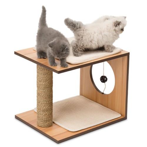 Mueble rascador para gatos v stool vesper nogal tiendanimal for Mueble arenero para gatos