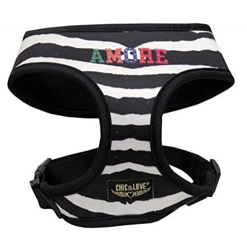 Arnés neopreno Love Zebra para perros color Blanco y negro