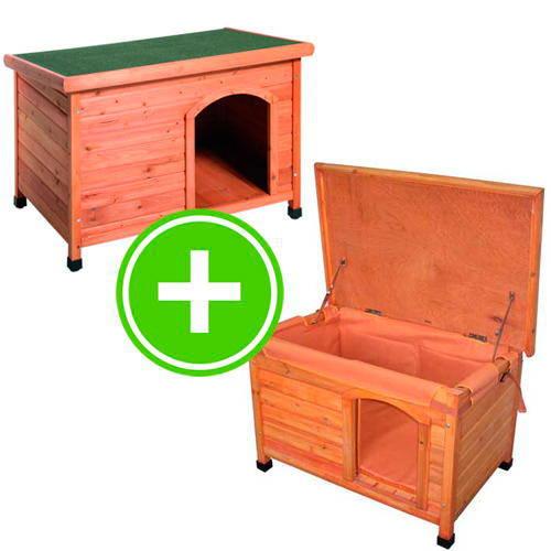 """Pack """"caseta de madera para perro más aislante"""""""