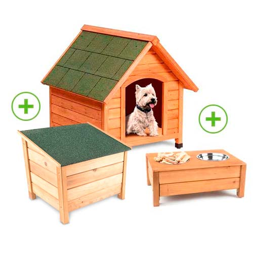 Pack caseta para perros TK-Pet Woof con comedero y almacenaje