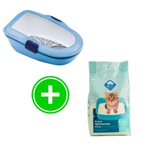 Pack higiene gatos: bandeja limpieza rápida y arena aglomerante TK-Pet