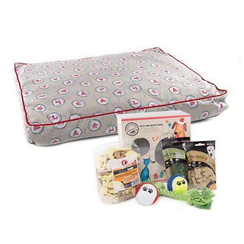 Pack Navidad Andrómeda: caja de regalos y colchoneta para perros