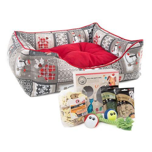 Pack Navidad Rudolph: caja de regalos y cama mullida para perros