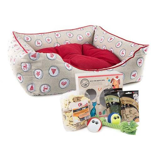 Pack Navidad Piscis: caja de regalos y cama para perros