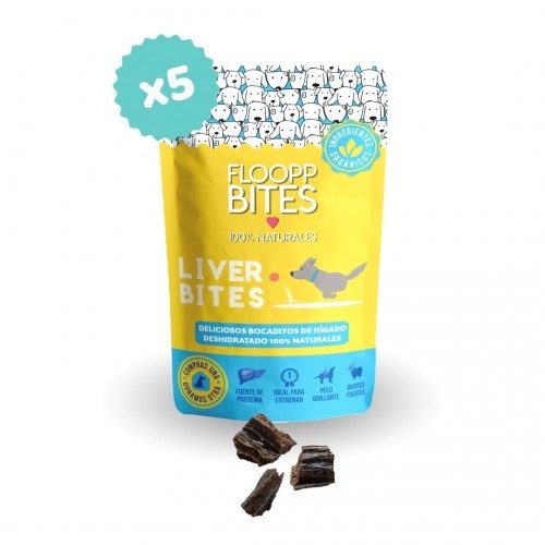 Pack snacks 100% Naturales FlooppBITES Liver Bites para perros