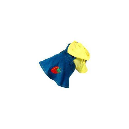 Peto vaquero con falda y camiseta amarilla