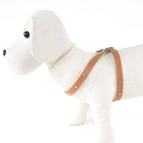 Petral de cuero perro forrado con fornitura Color Natural