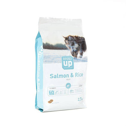 Pienso súperpremium para gatos Breed Up Adult Salmon con salmón