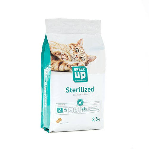 Superpremium food for cats Breed Up Sterilised Chicken & Rice