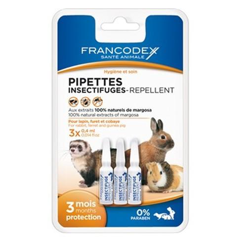 Pipetas antiparasitarias naturales para conejos, hurones y roedores Francodex