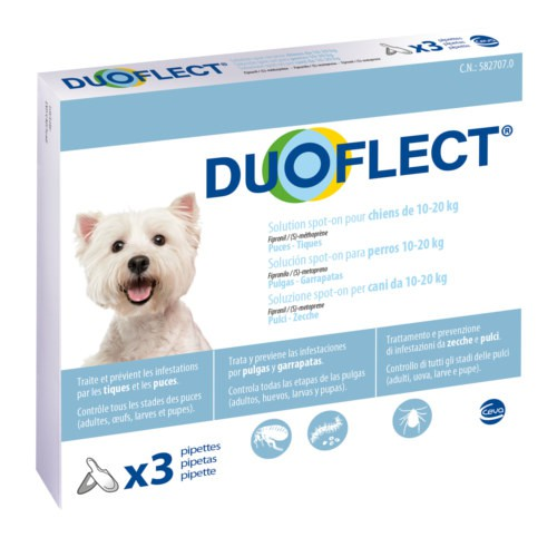 Pipetas antiparasitarias para perros de 10-20 kg Duoflect