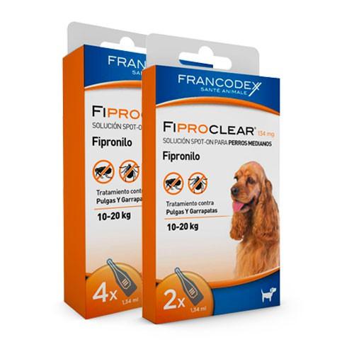 Pipetas antiparasitarias para perros de 10-20 Kg Fiproclear
