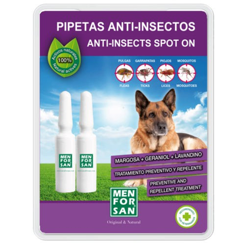 Pipetas naturales repelentes de insectos para perros Menforsan