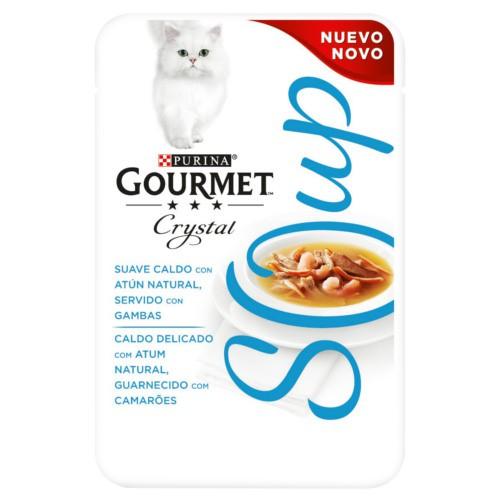 Purina Gourmet Crystal sopa con atún natural y gambas para gatos