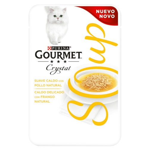 Purina Gourmet Crystal sopa con pollo natural para gatos