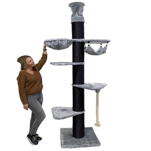 Rascador Maine Coon Tower Crown para gatos color Gris oscuro y gris claro