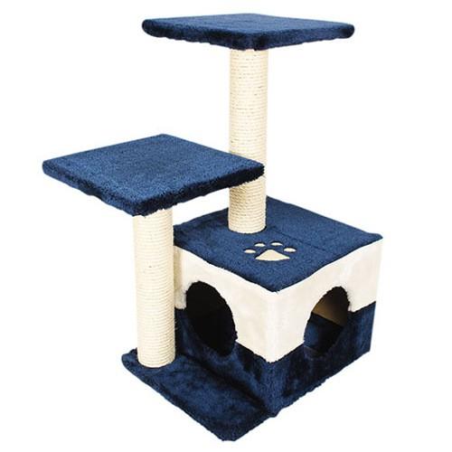 Rascador con plataformas y cama Savanna azul