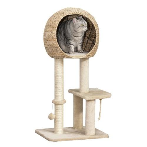 Árbol Rascador para Gatos con Caseta Bola y Cuerda de Juego color Beige.