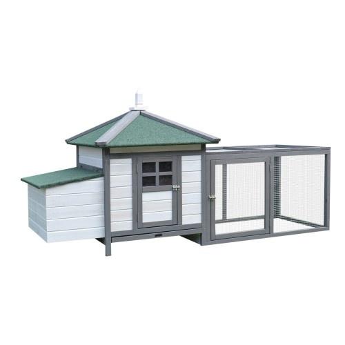 Refugio Jaula para Gallinas Pollos Exterior con nido y espacio abierto