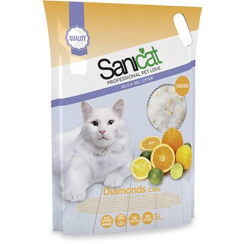 Sanicat Diamonds Citric arena de sílice para gatos